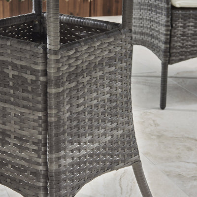 2 Seater Rattan Bistro Dining Set in Grey - Garden Furniture Outdoor - Laura James