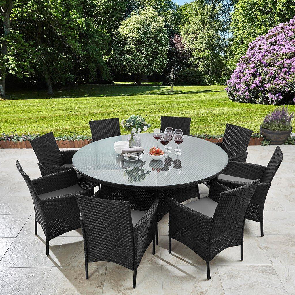 8 Seater Rattan Dining Table Set In Black Garden Furniture Outdoor Laura James
