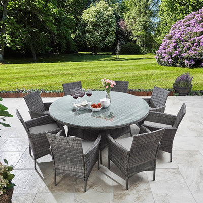 8 Seater Rattan Round Dining Set with Parasol - Grey - Rattan Garden Furniture - Laura James
