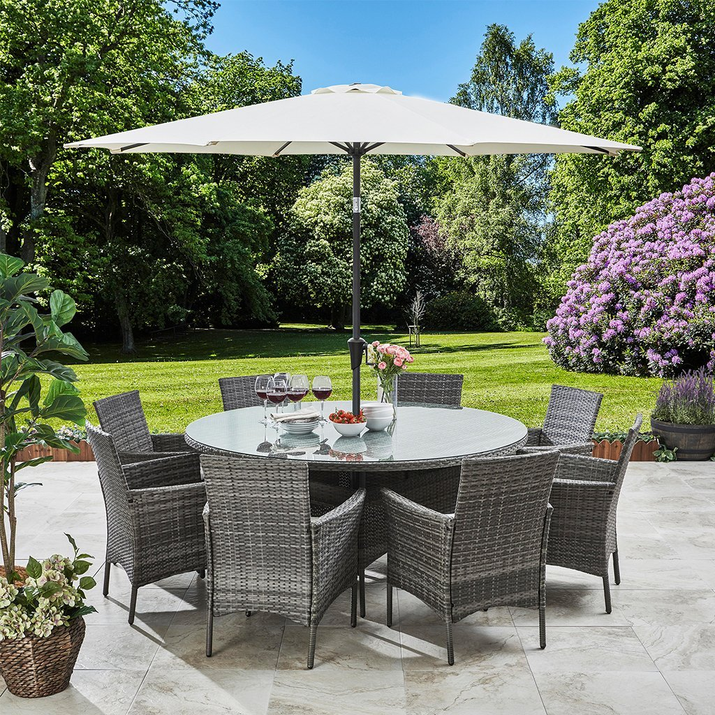 8 Seater Rattan Round Dining Set with Parasol - Rattan Garden Furniture Grey - Laura James