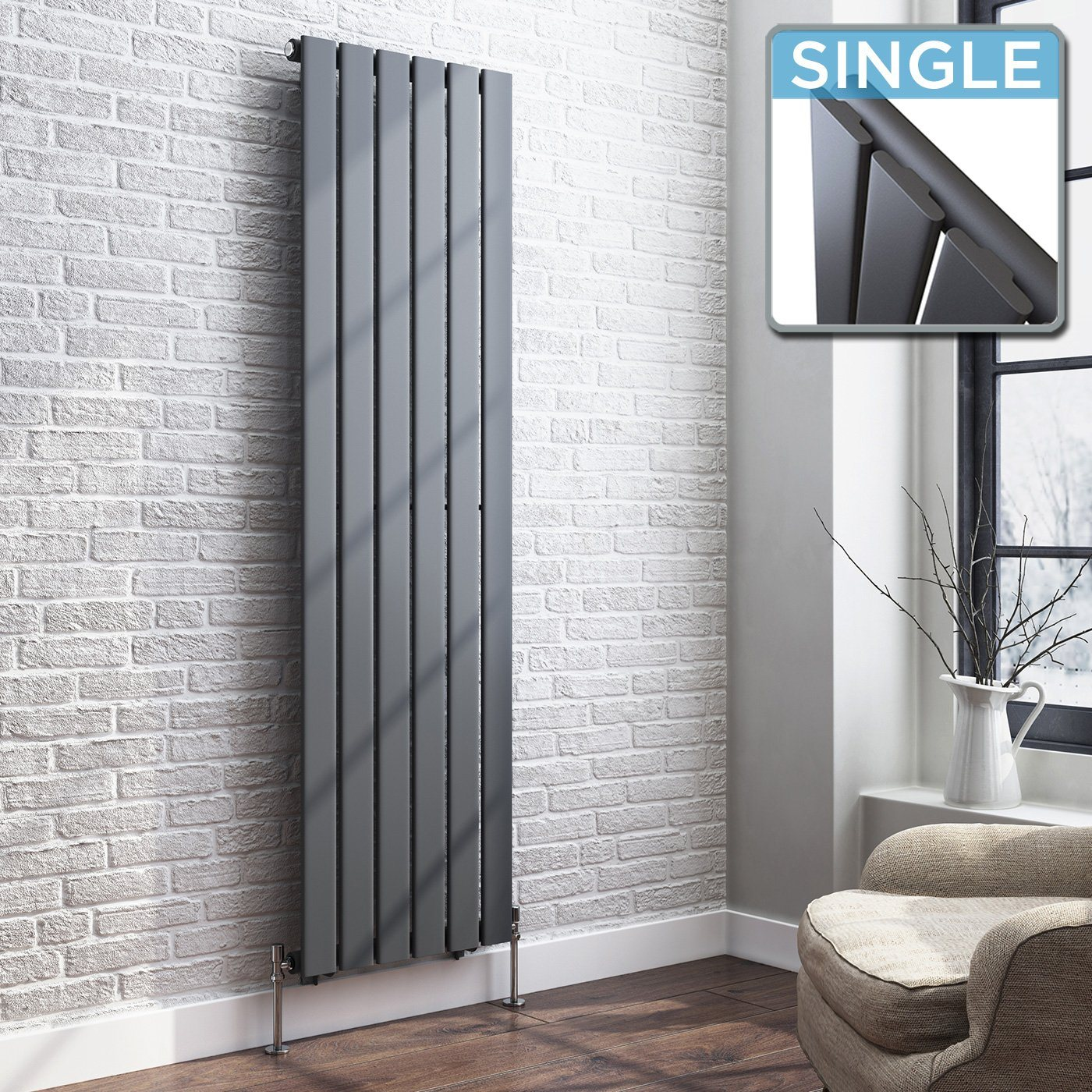 Grey Designer Radiator Vertical Double Slim Panel 1600mm x 452mm - Laura James