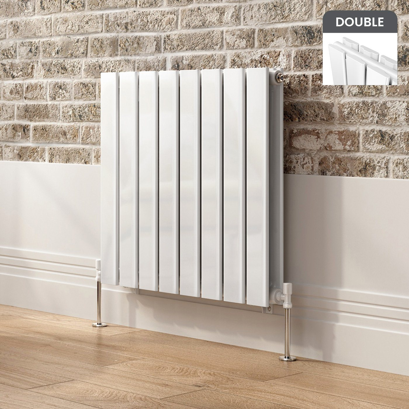 White Designer Radiator Horizontal Double Slim Panel 600mm x 608mm - Laura James