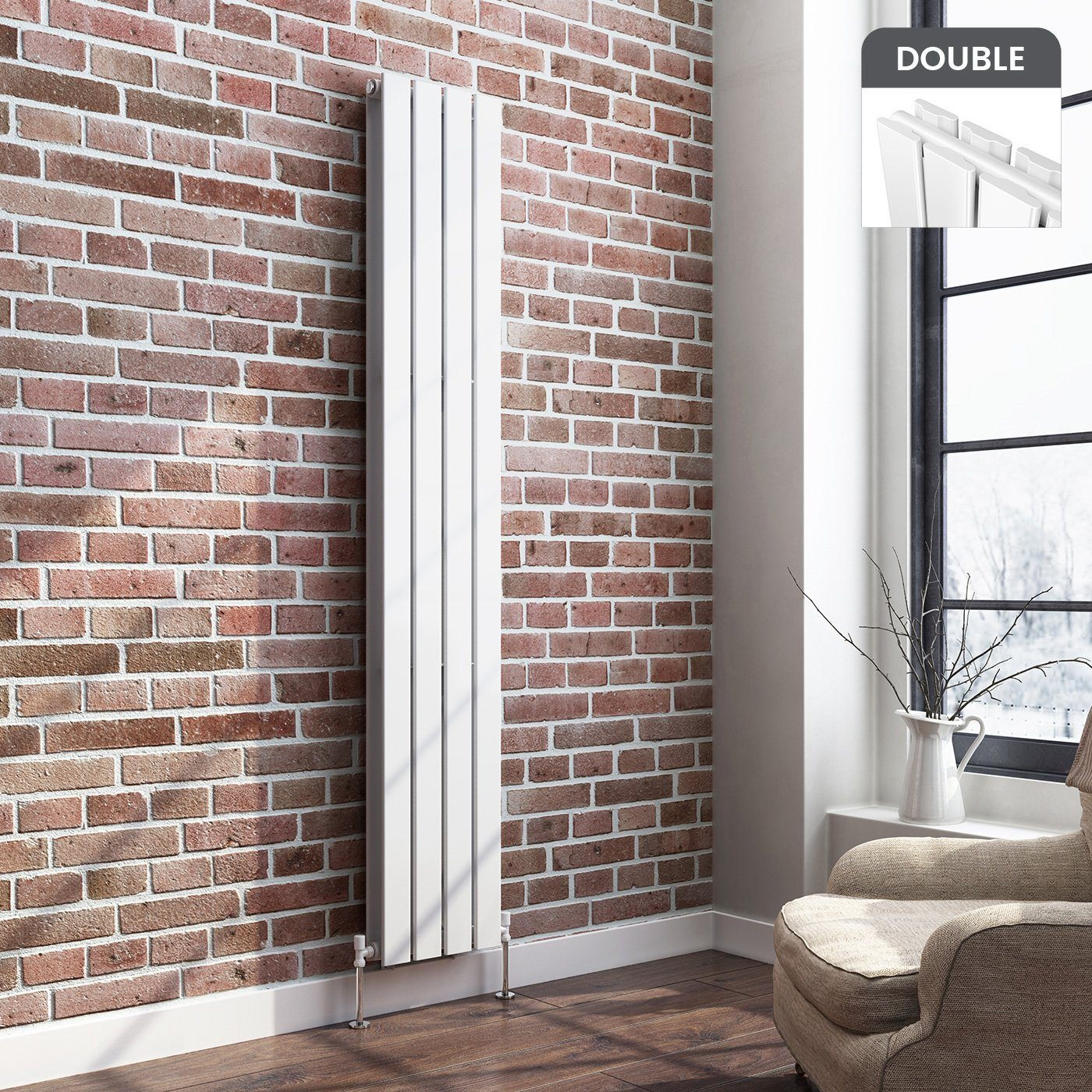 White Designer Radiator Vertical Double Slim Panel 1800mm x 306mm - Laura James