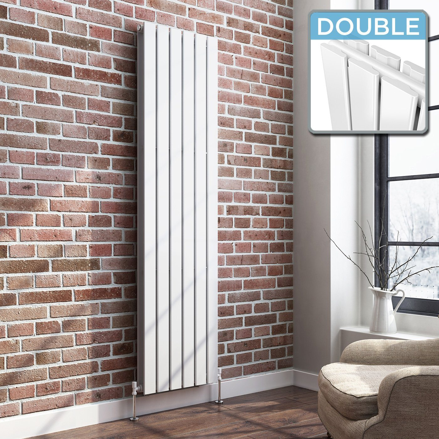 White Designer Radiator Vertical Double Slim Panel 1800mm x 458mm - Laura James