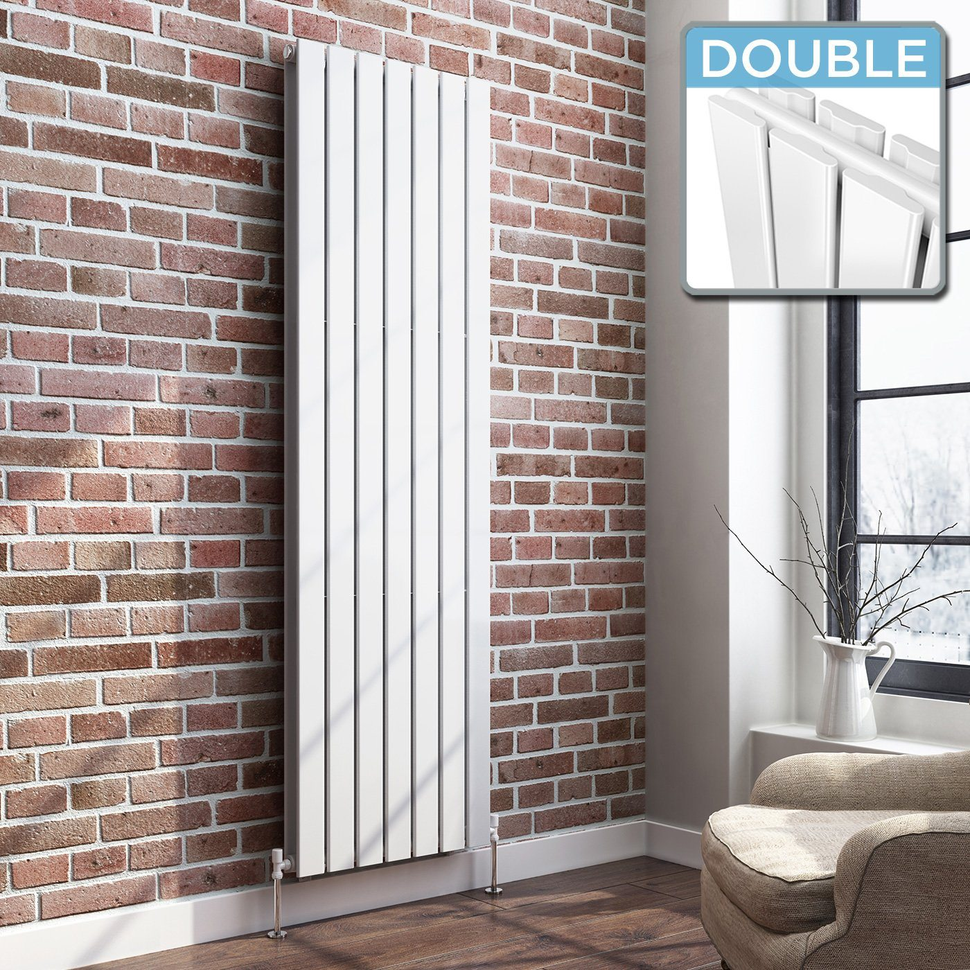 White Designer Radiator Vertical Double Slim Panel 1800mm x 530mm - Laura James