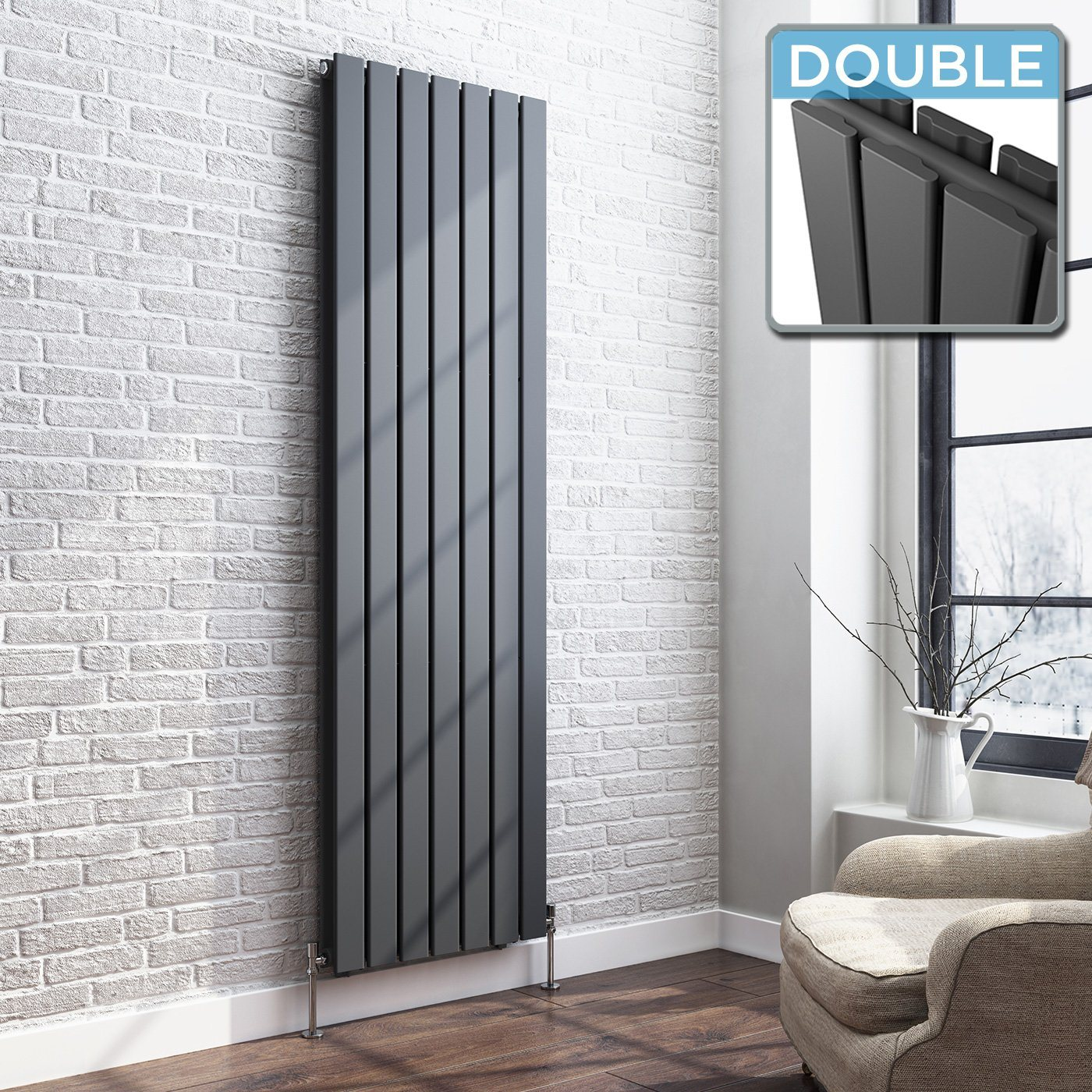 Grey Designer Radiator Vertical Double Slim Panel 1800mm x 530mm - Laura James