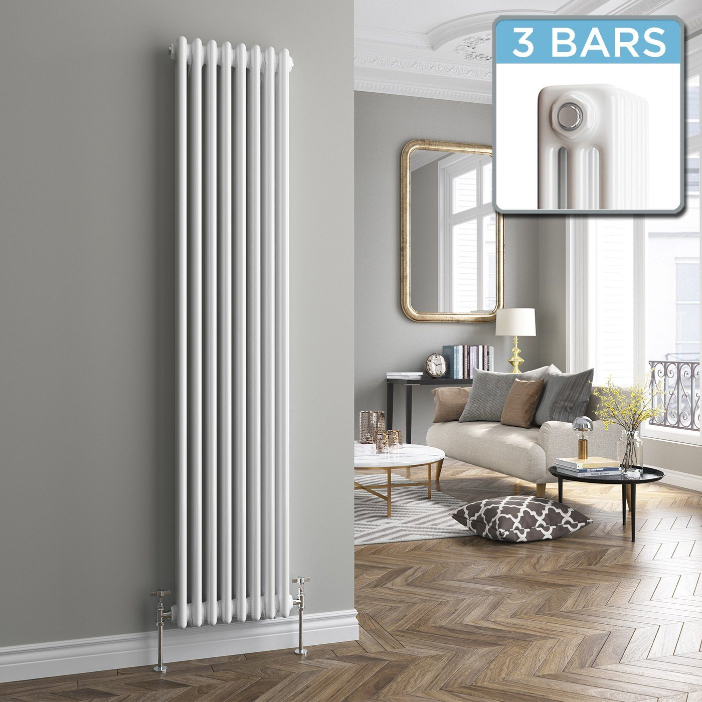 Vertical 3 Column Radiator in White 1800x378mm