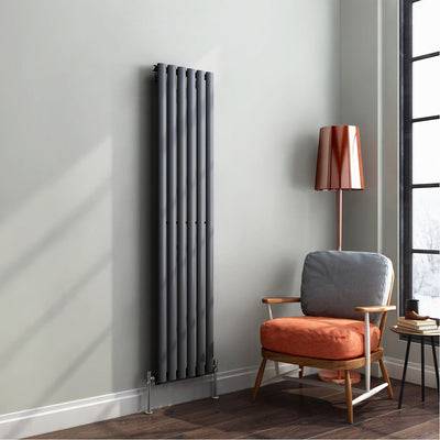 Grey Designer Radiator Vertical Single Oval Panel 1600mm x 360mm - Laura James