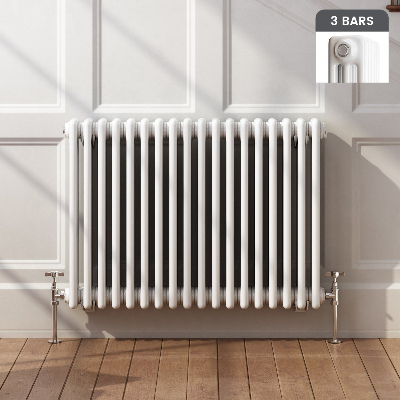 Horizontal 3 Column Radiator in White 600x828mm