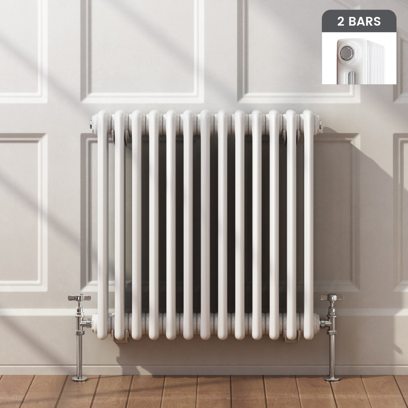 Horizontal 2 Column Radiator in White 600x603mm