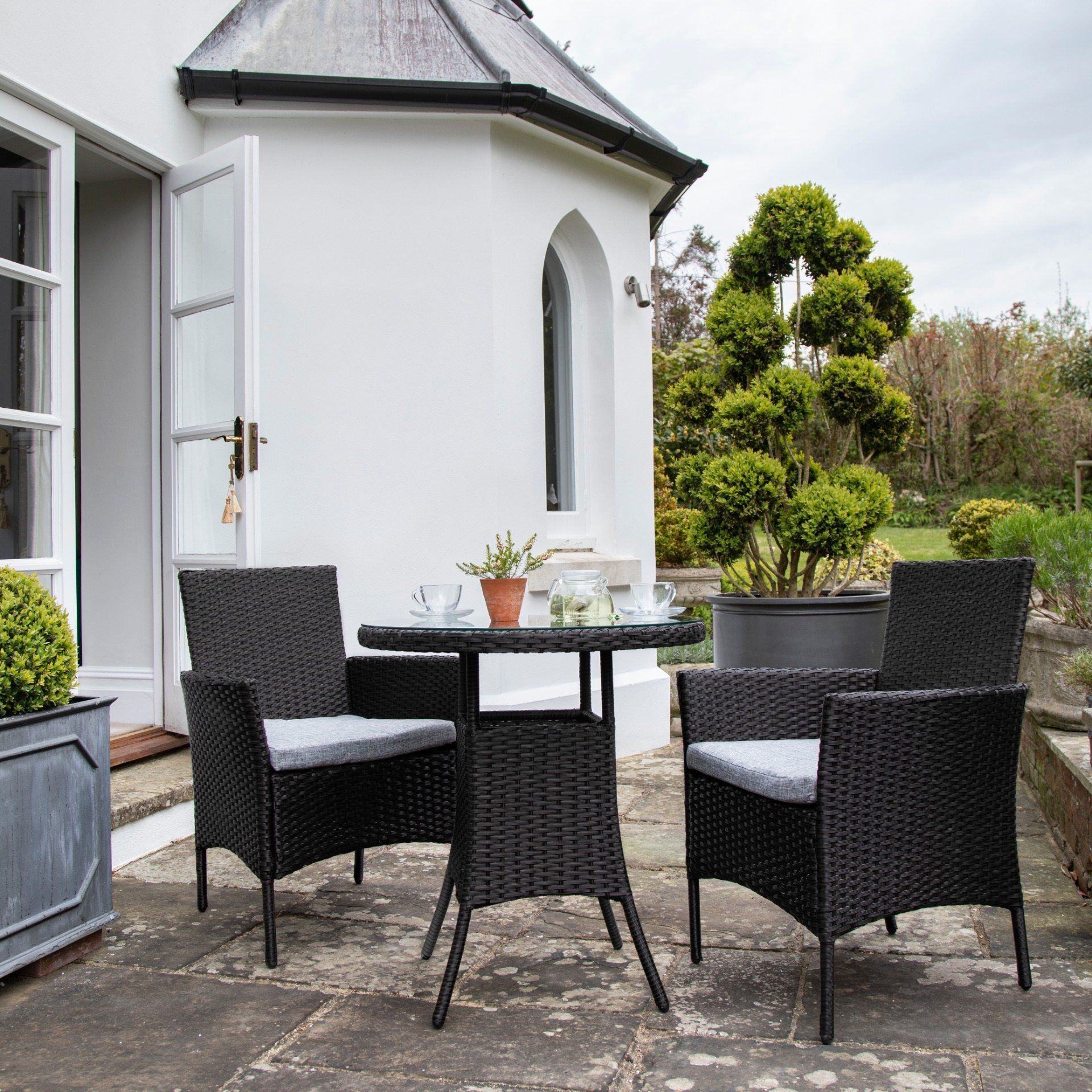 2 Seater Rattan Bistro Dining Set in Black - Garden Furniture - Laura James
