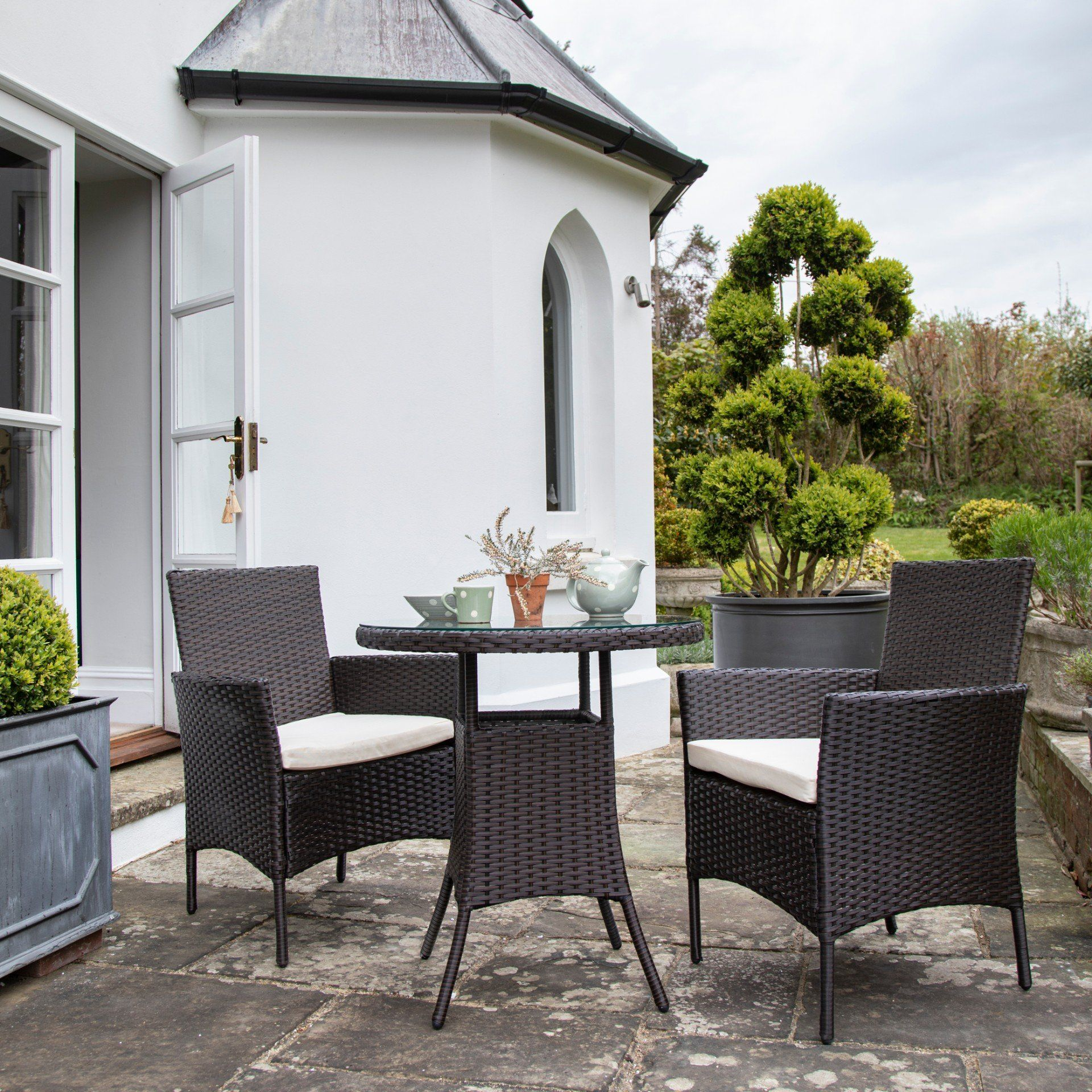 2 Seater Rattan Bistro Dining Set in Brown - Garden Furniture Outdoor Laura James