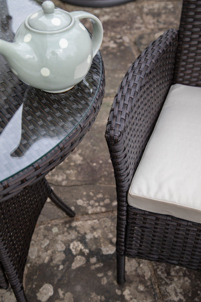 2 Seater Rattan Bistro Dining Set in Brown - Garden Furniture Outdoor - In Stock Date - 30th June 2020 - Laura James