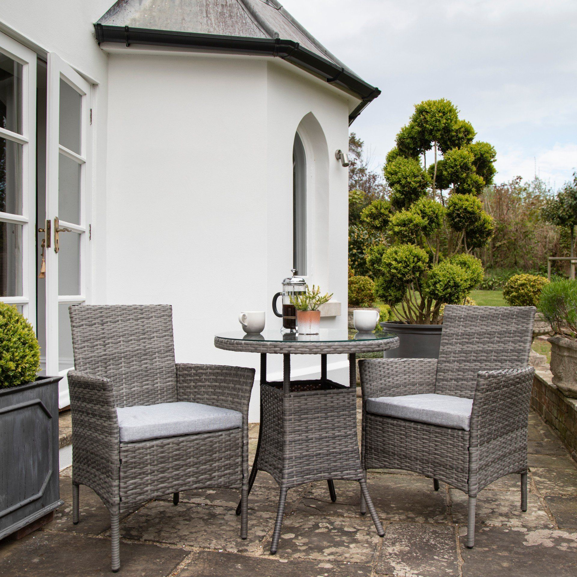 2 Seater Rattan Bistro Dining Set - Grey - Laura James