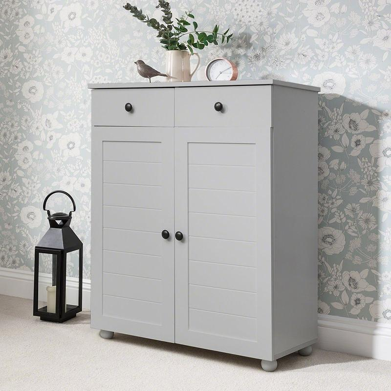 Grey Shoe Storage Cabinet Storage Cupboard Wooden - Laura James