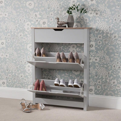 Grey Shoe Cabinet Storage Wooden - Laura James