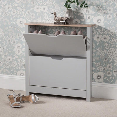 Grey Shoe Cabinet Wooden Storage - In Stock Date - 19th June 2020 - Laura James