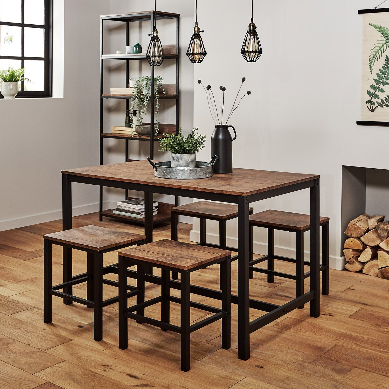 Oak dining set with four rustic benches and three drop-down lamps