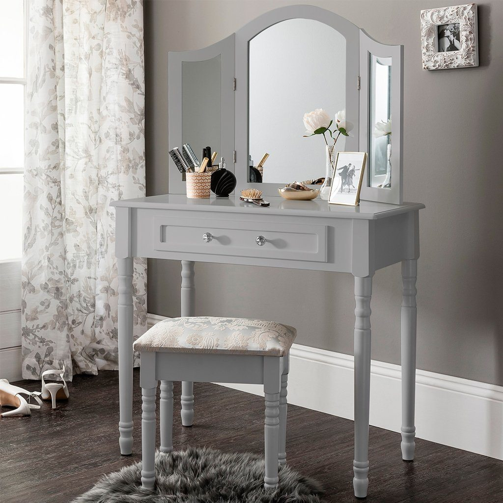 Sienna Dressing Table, Stool & Mirror Set - Grey Painted - In Stock Date - 2nd June 2020 - Laura James