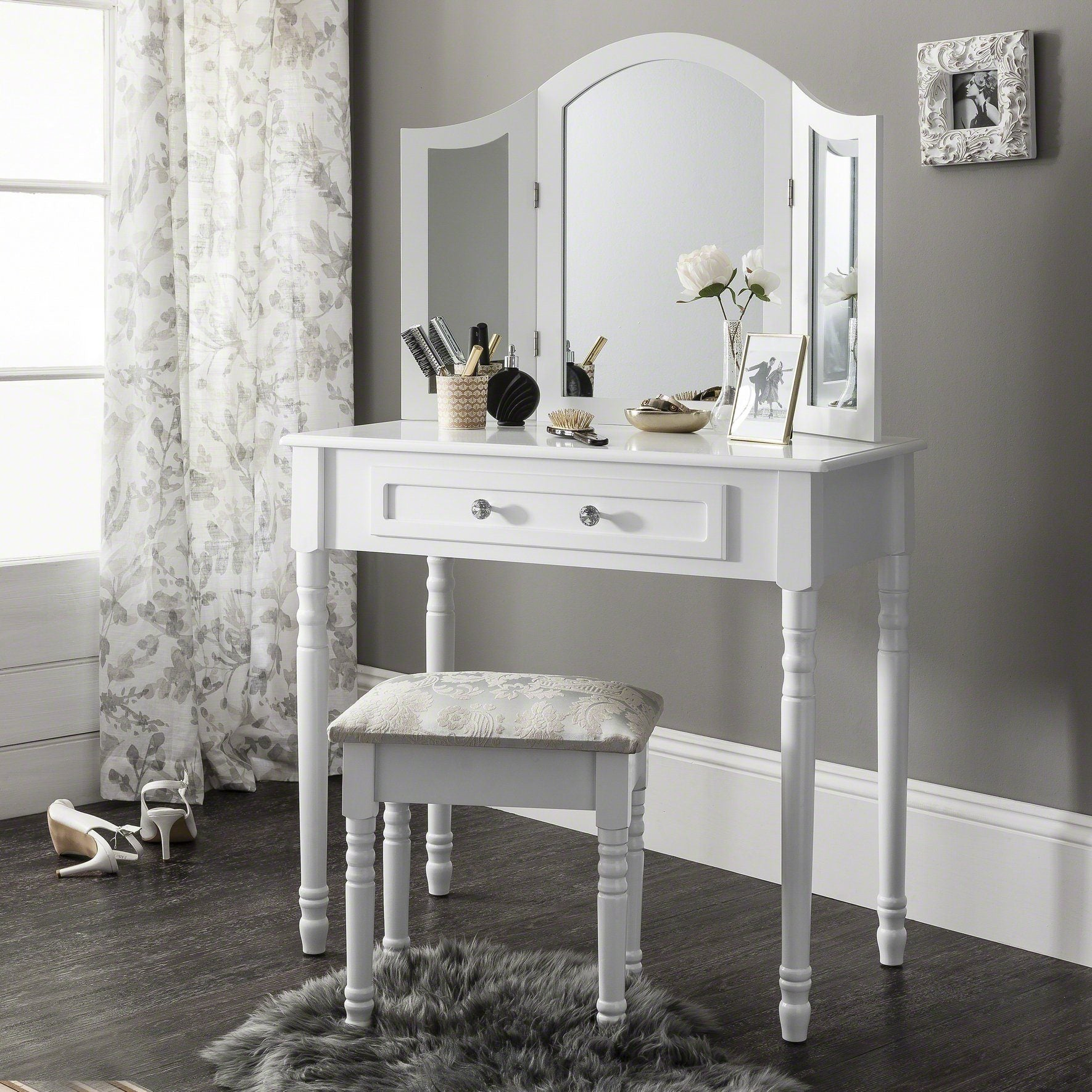 Sienna Dressing Table Stool Mirror Set White Painted Laura James