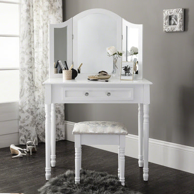 Sienna Dressing Table, Stool & Mirror Set - White Painted - In Stock Date - 2nd June 2020 - Laura James