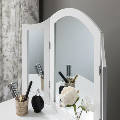 Sienna Dressing Table, Stool & Mirror Set - White Painted - Laura James
