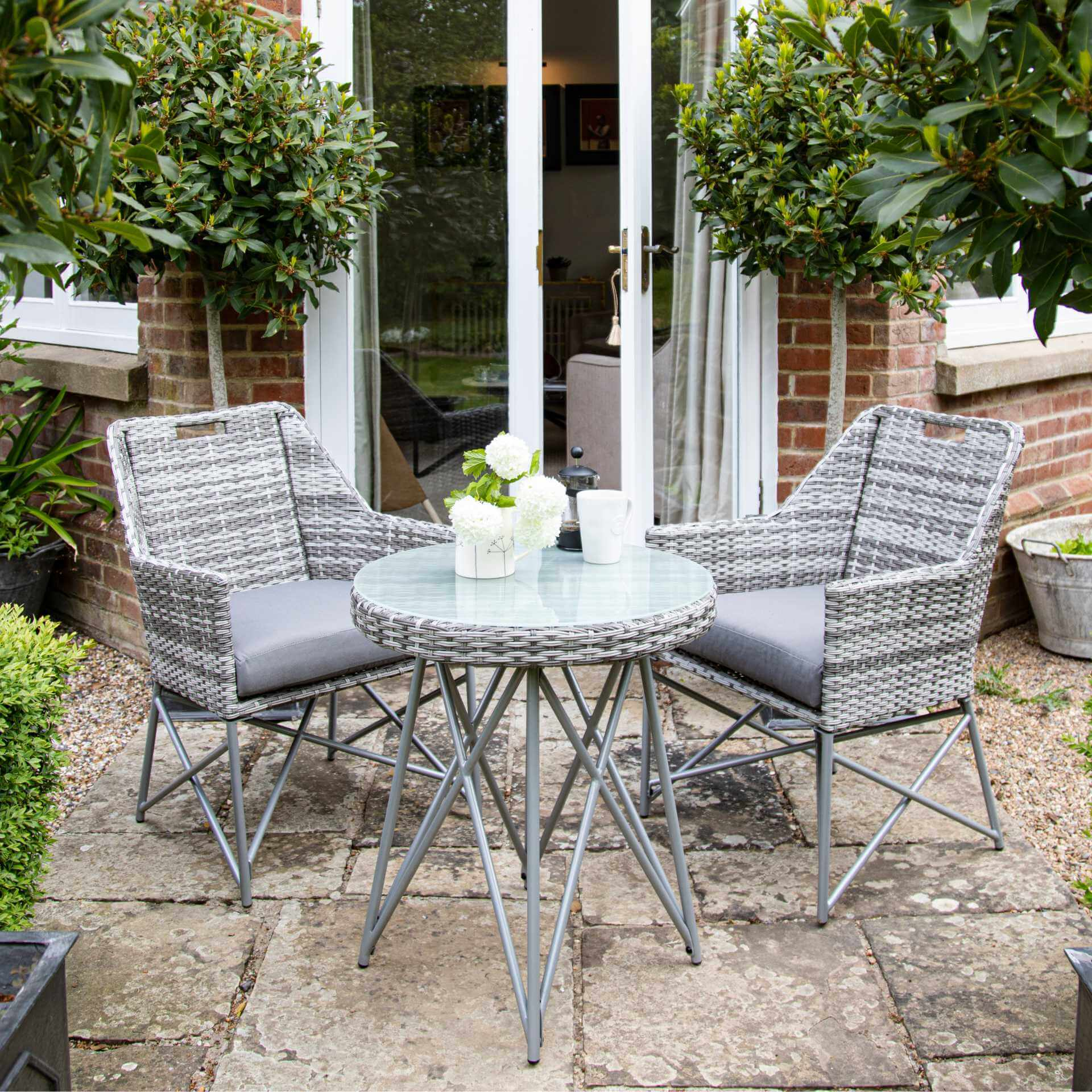 Grey rattan bistro set - 2 seats - Laura James