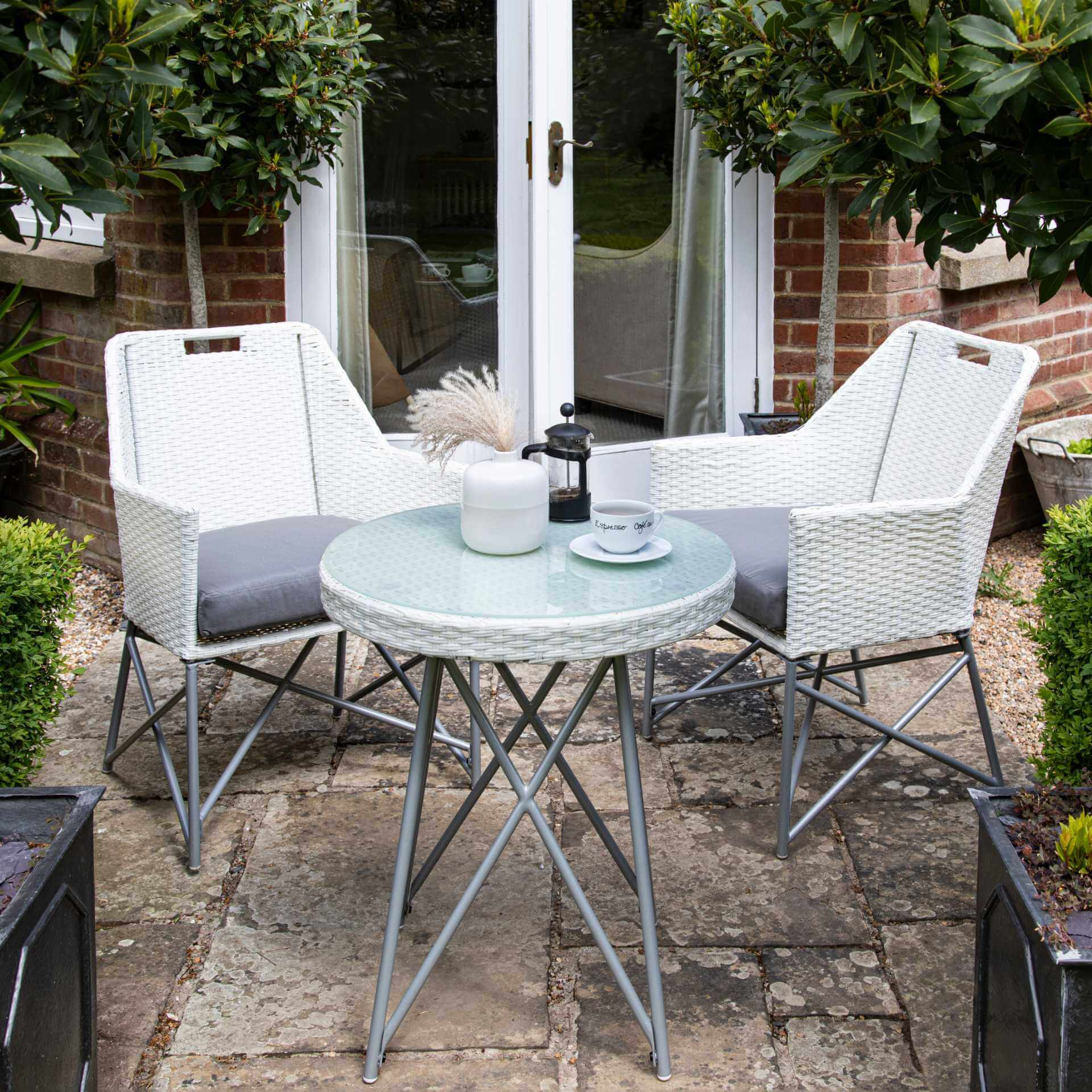 White rattan bistro set - two seats - Laura James