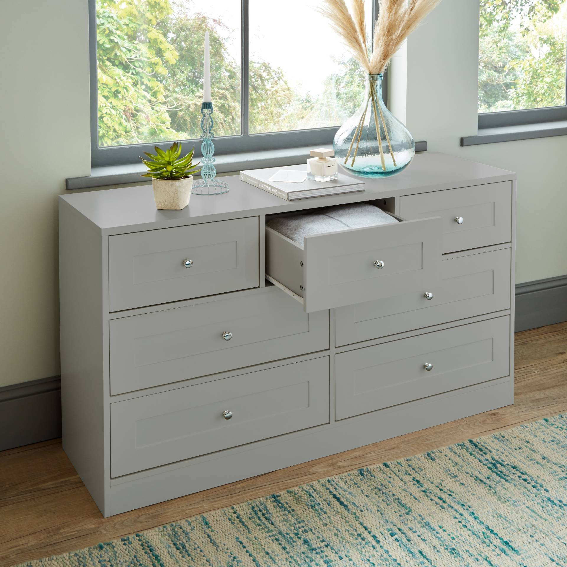 Stevie Chest of Drawers - 3 Over 4 Grey - Laura James