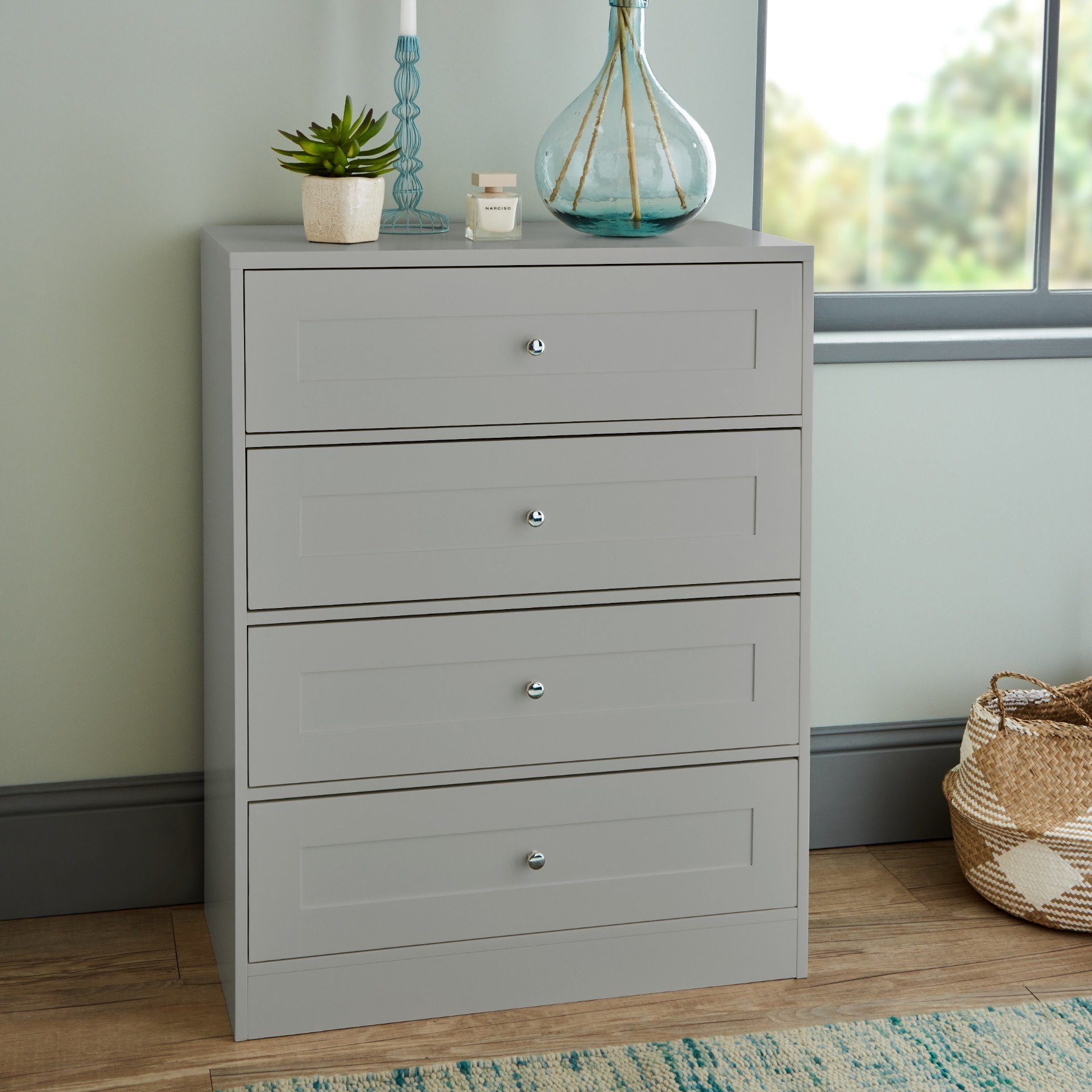 Stevie 4 Drawer Chest of Drawers Grey - Laura James