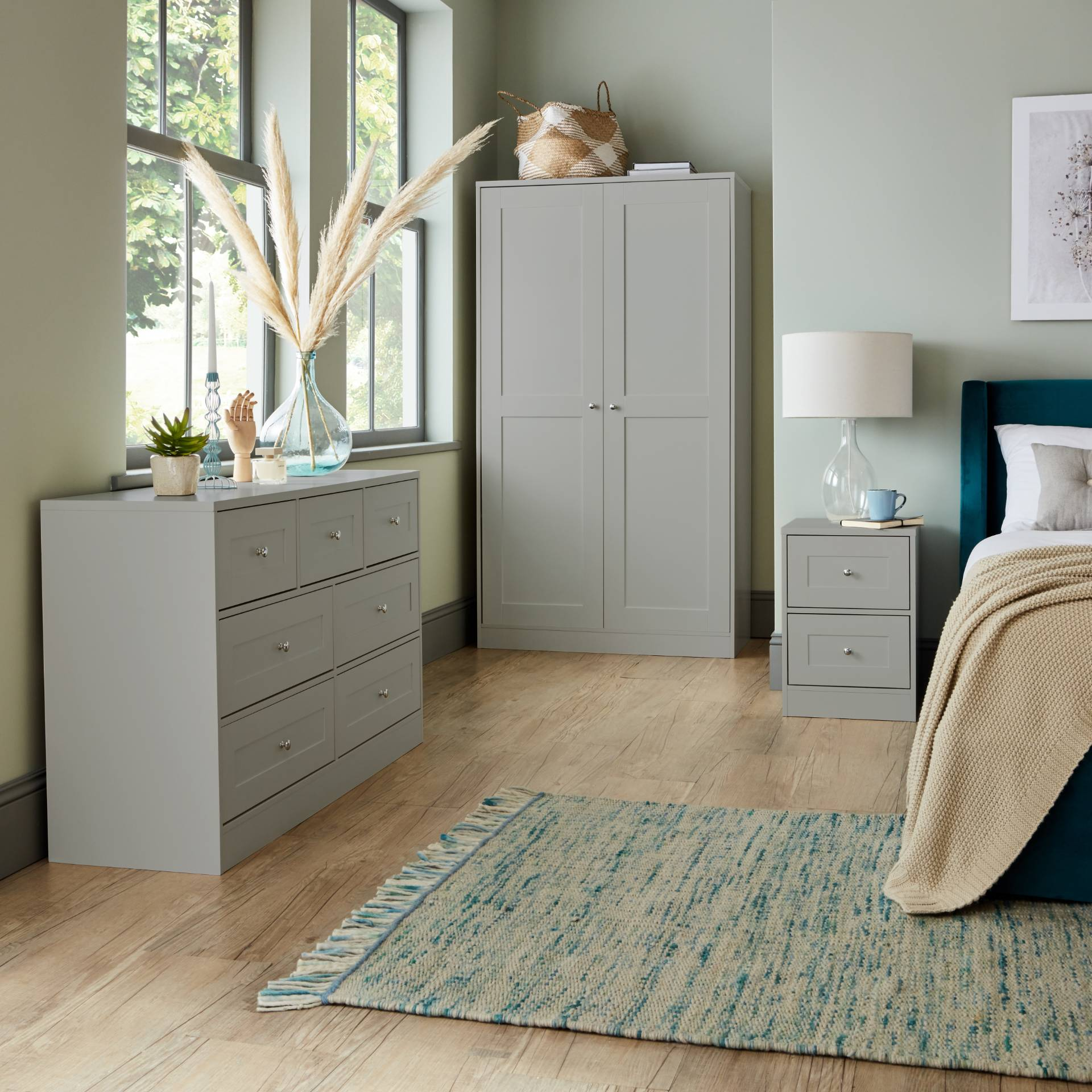 Stevie Shaker Style Bedroom Furniture Set in Grey - Laura James