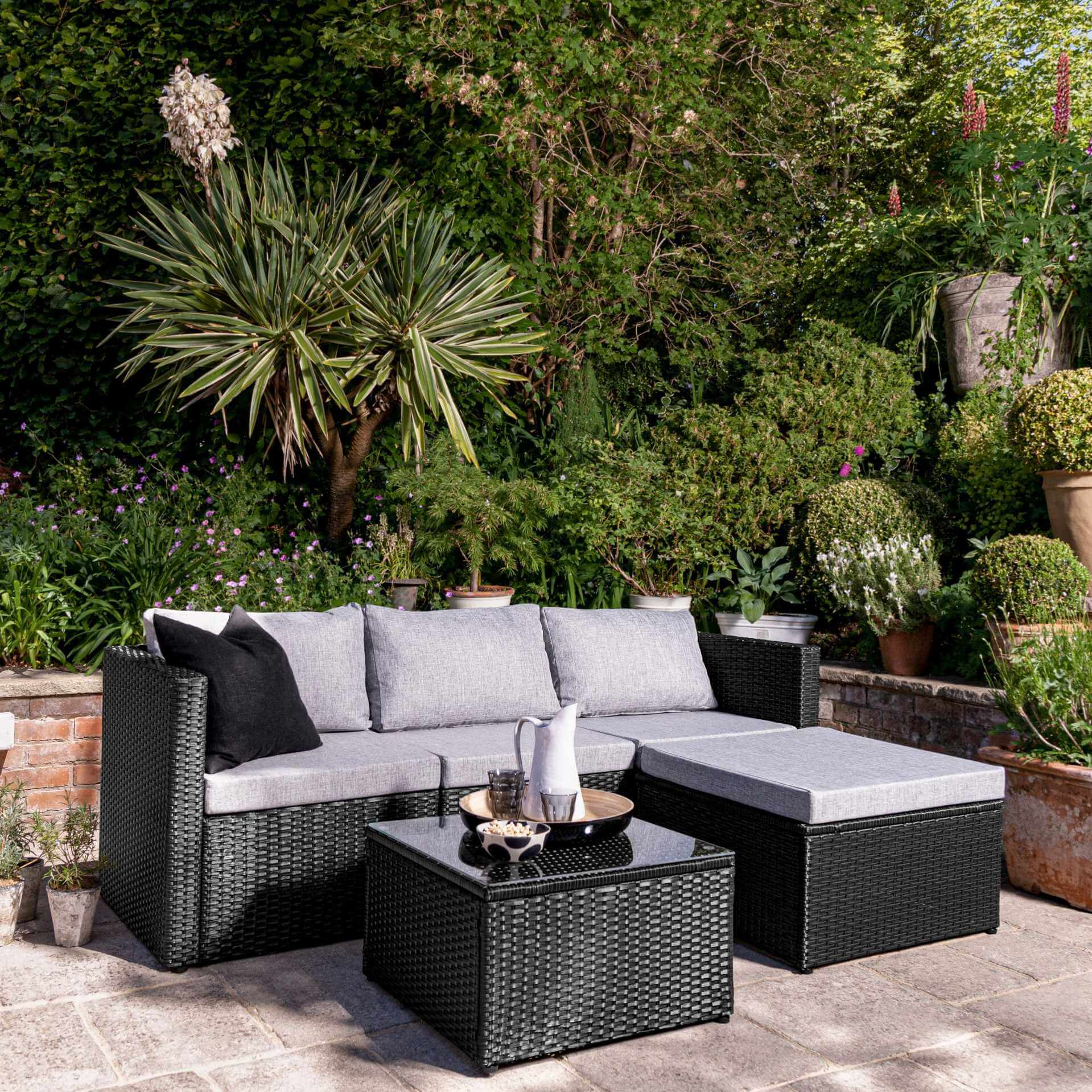4 Seater Rattan Corner Sofa Set - Black Weave