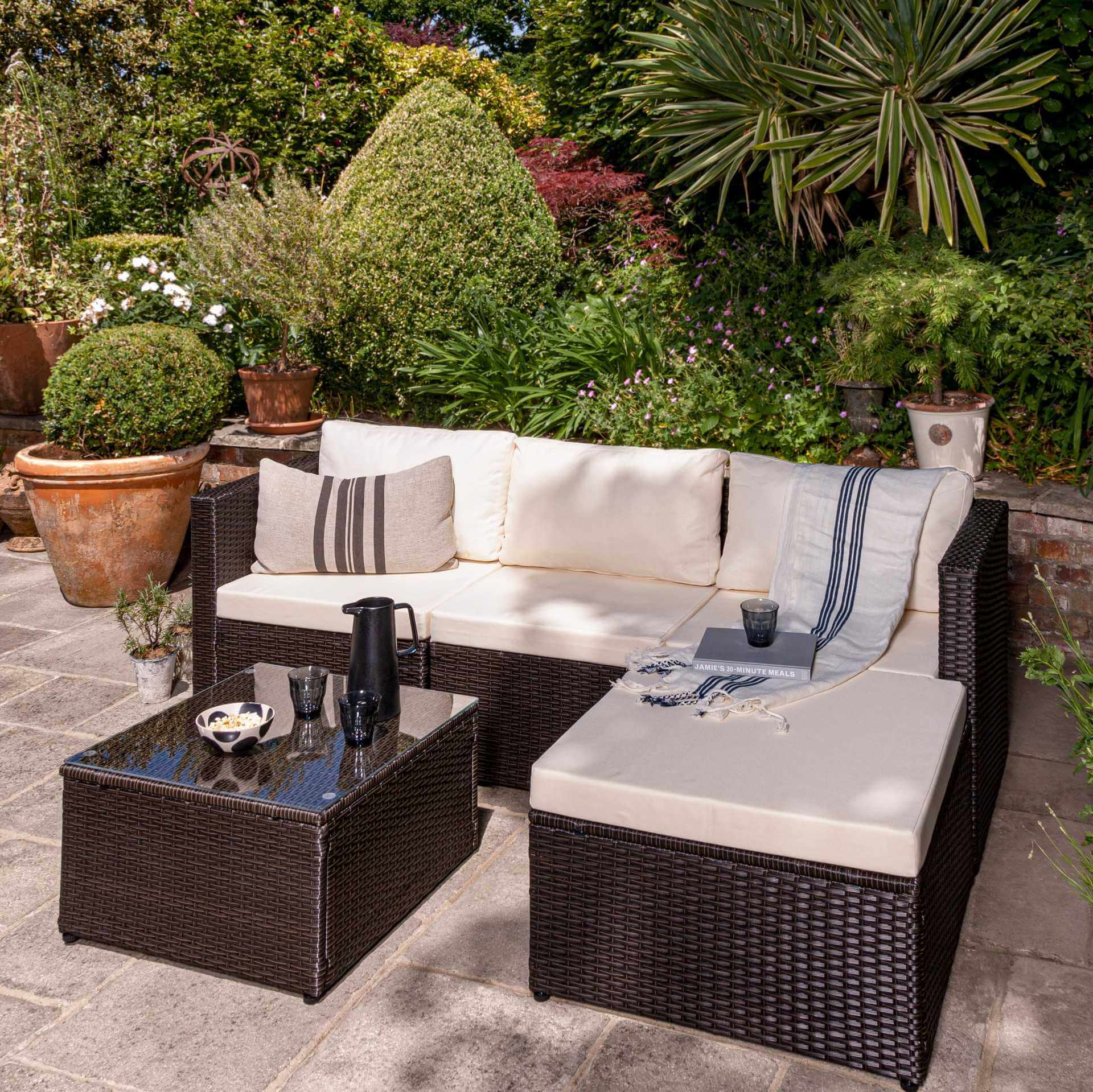 4 Seater Rattan Corner Sofa Set - Brown Weave - Laura James