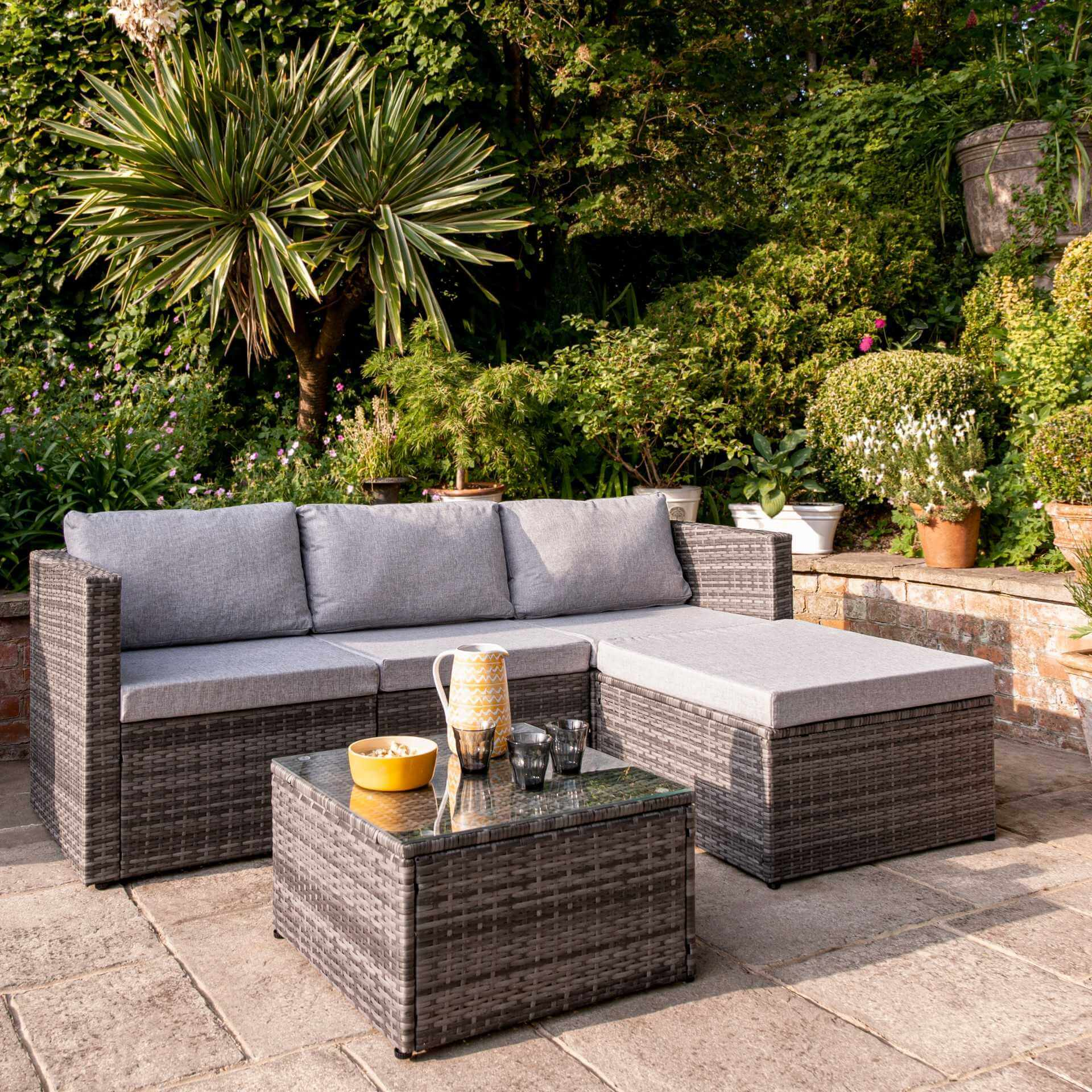4 Seater Rattan Corner Sofa Set - Grey Weave - Laura James