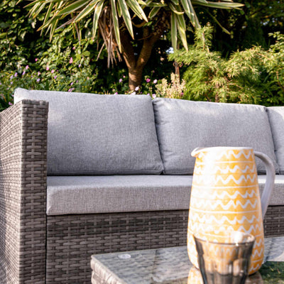 4 Seater Rattan Corner Sofa Set with Cantilever Parasol and Base - Grey Weave