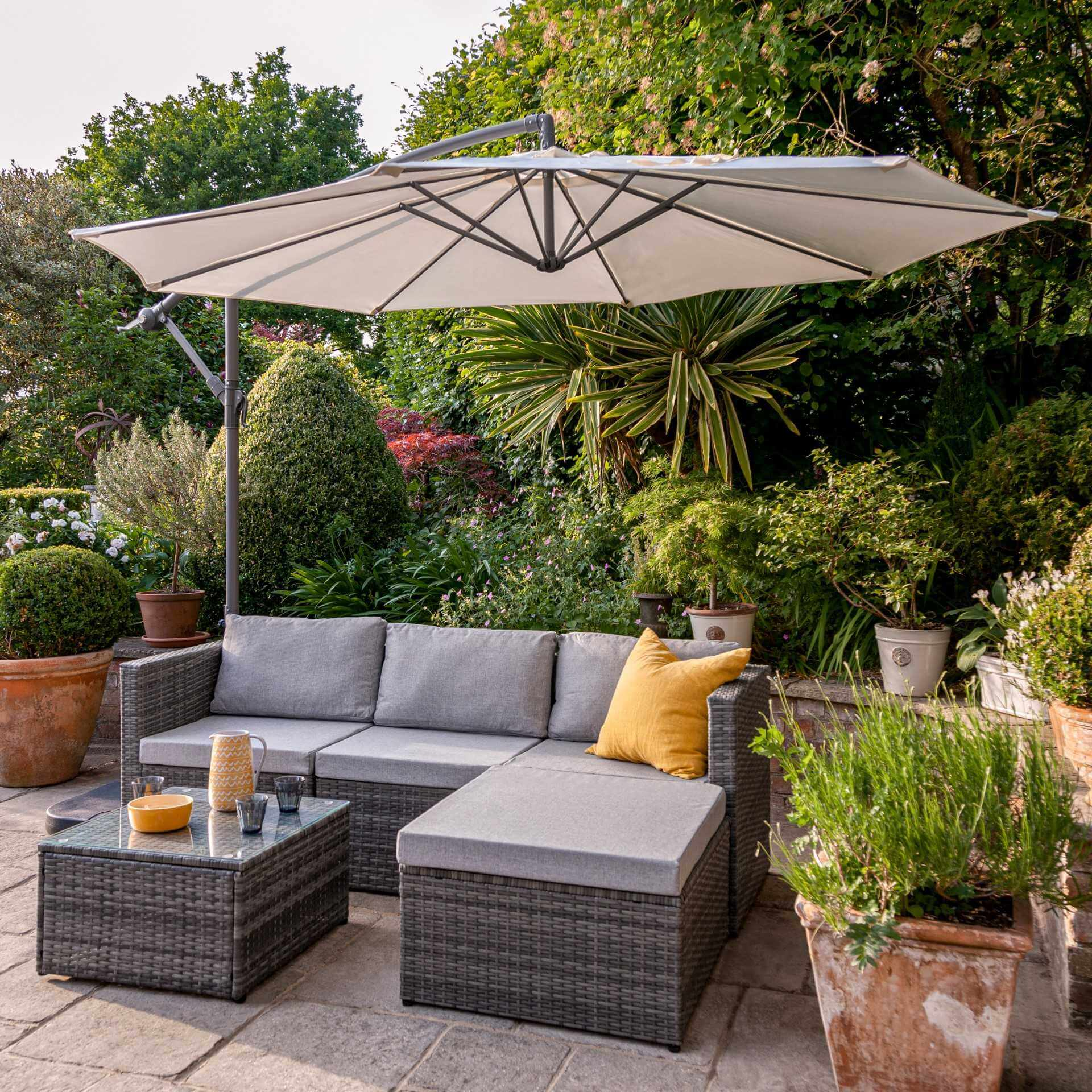4 Seater Rattan Corner Sofa Set with Lean Over Parasol and Base - Grey Weave - Laura James