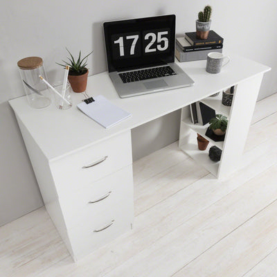 White Computer Desk with Drawers - Laura James