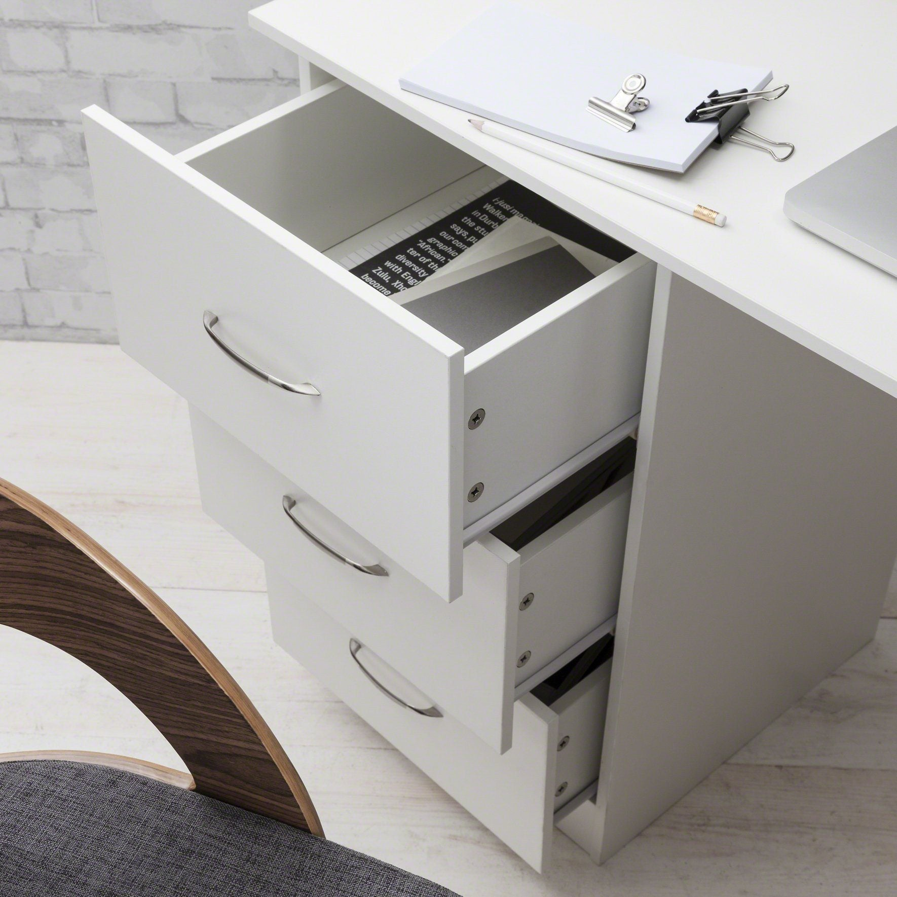desk drawers pc computer study with table shelves var office westwood home itm