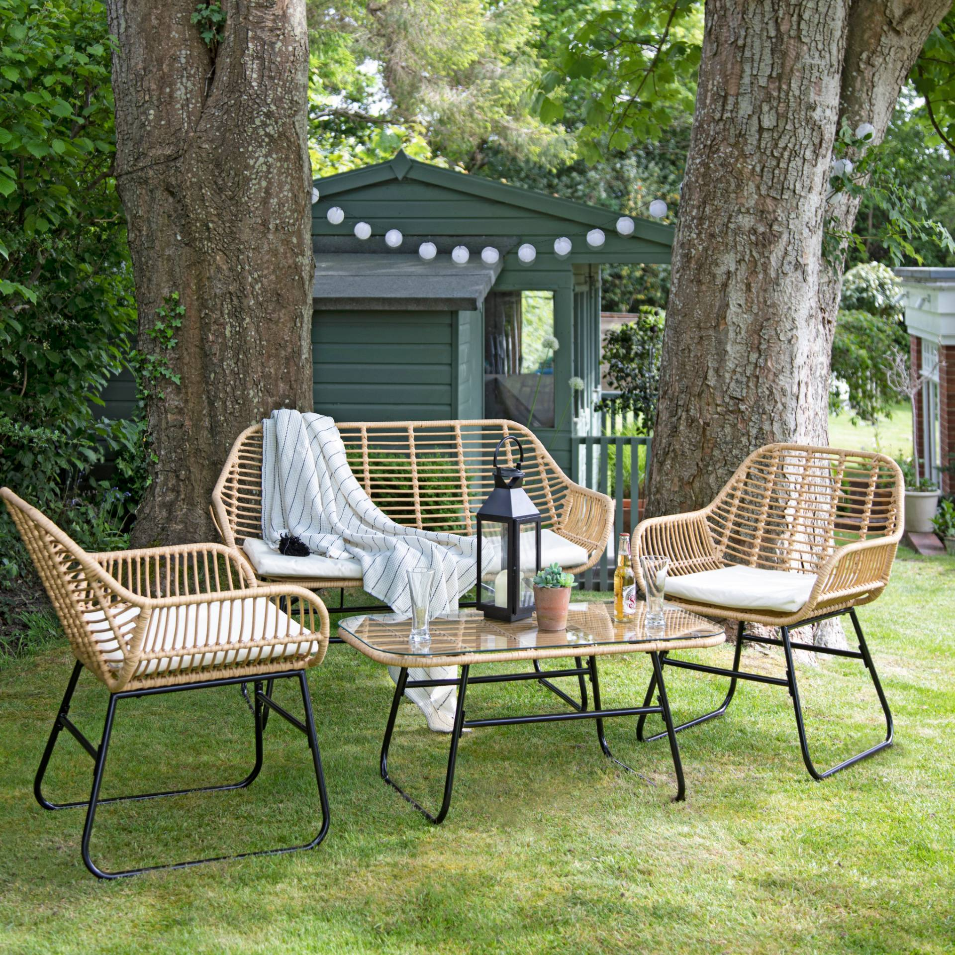 Rattan Sofa Set - outdoor furniture - Natural - Laura James