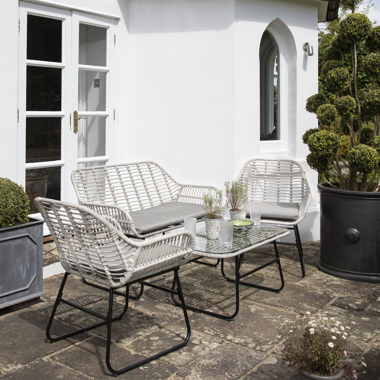 Wick Rattan Sofa Set - Light Grey - Laura James