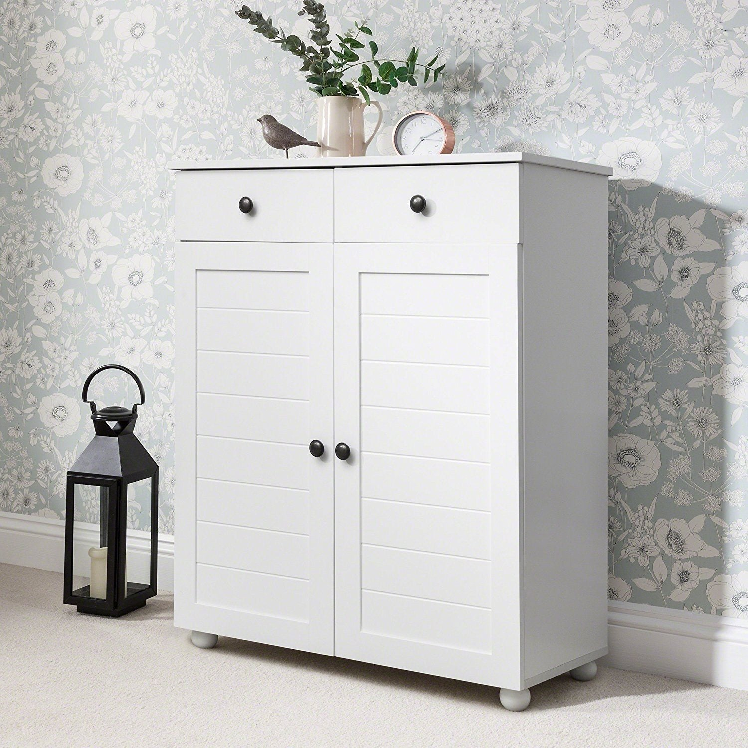 White Shoe Storage Cabinet Storage Cupboard Wooden -  Laura James
