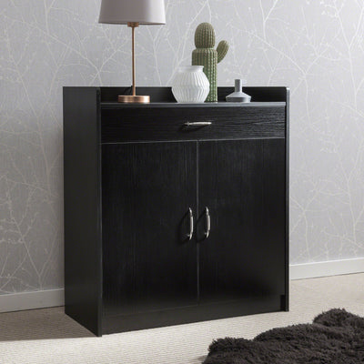 Sideboard – Home Office Cupboard Shoe Cabinet Unit Chest – with drawer and shelves (Black) - Laura James