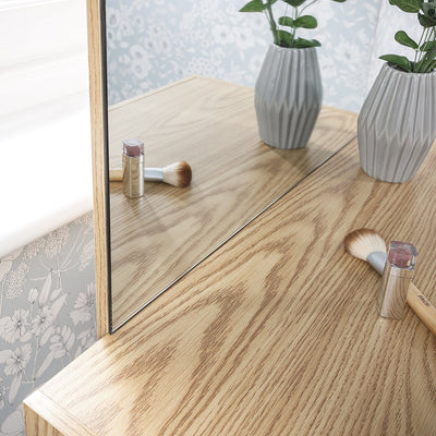 Laura James Dressing Table with Mirror and Stool Set (Oak) - Laura James