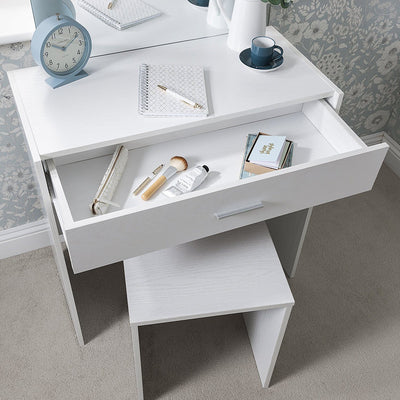 Laura James Dressing Table with Mirror and Stool Set (White) - Laura James