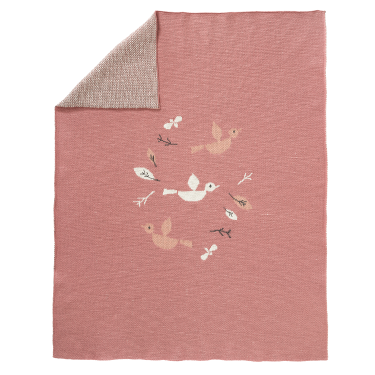 Knitted Blanket Birds Pink