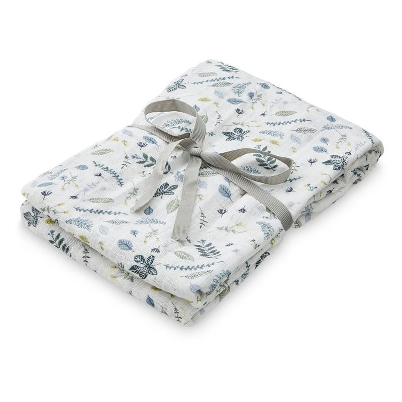 CamCam Swaddle Pressed Leaves Blue