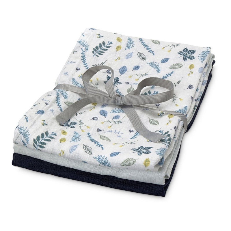 CamCam Hydrofiele Doeken set Pressed Leaves Blue, Baby Blue, Navy
