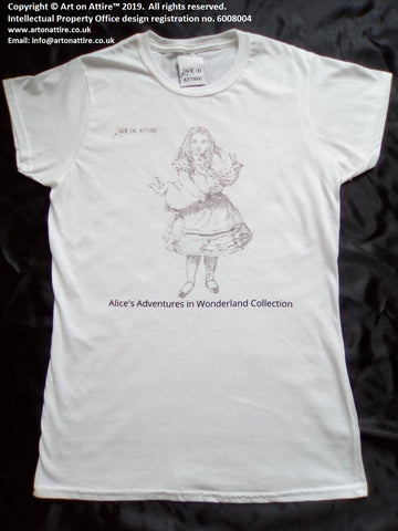 Art on Attire™ men's pig Alice in Wonderland artwork printed t-shirt