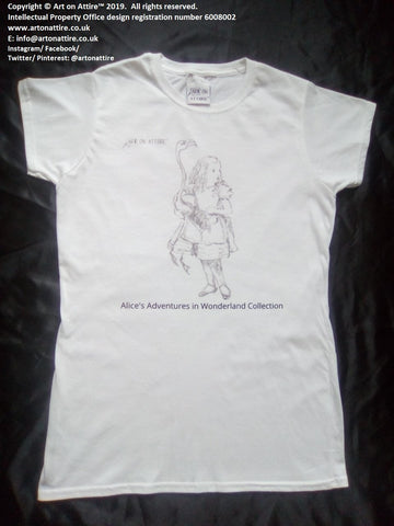 Women's flamingo Alice in Wonderland t-shirt UK - Art on Attire™