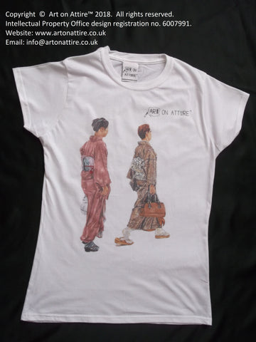 Art on Attire™ Women's t-shirt: Two Japanese ladies painting t-shirt